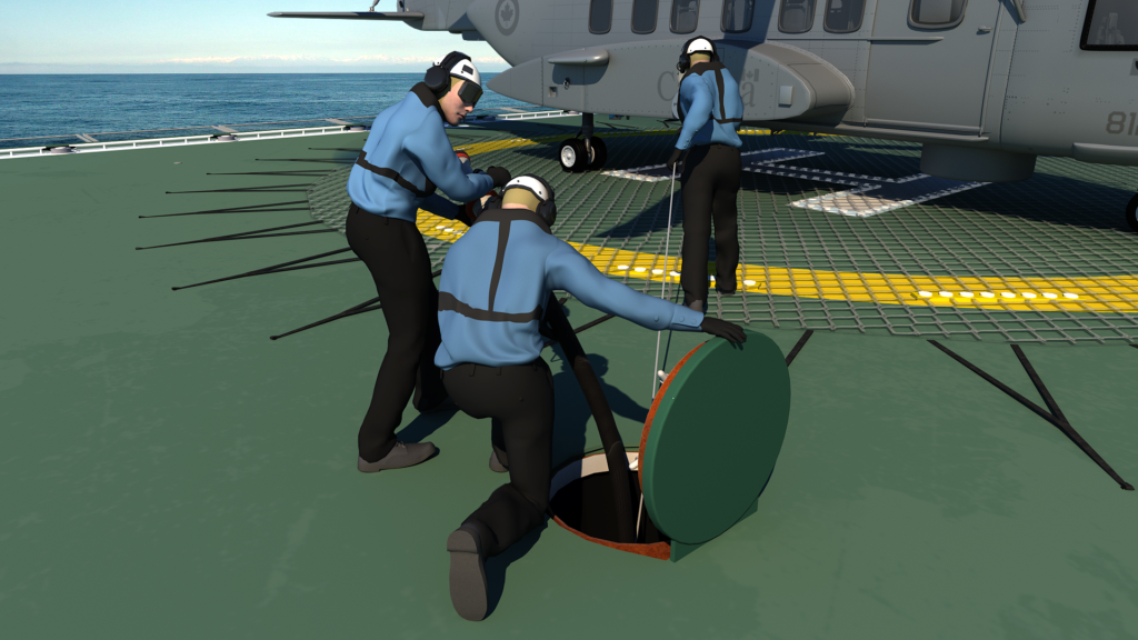 3D image of hot refuelling scene of a helicopter on the back of a naval ship.